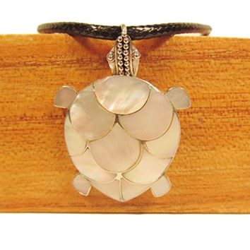 Mother of Pearl Shell White Turtle 925 Sterling Silver Pendant Bali Bay Trading Co