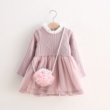 Knitted Long Sleeve Pink Tutu Dress