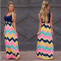Bohemian Wave Print Beach Maxi Dress B0015169