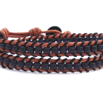Matte Black Saddle Brown Leather Double Wrap Bracelet Mens Braclet Womens Bracelet Southwestern Hipster Western Rustic