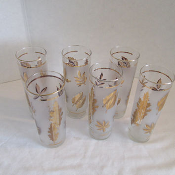 Libbey Mid Century gold leaf glasses cooler ice tea Retro frosted lot of 6