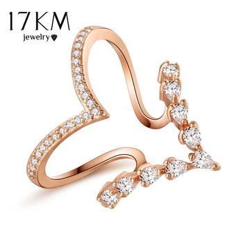 17KM Fashion Lover Heart Crystal Finger Rings For Women Bijoux Cubic Zircon Rose Gold Color Ring Jewelry Wedding Gift