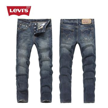 2017 Levi's men's 501 Classic Original Straight Jeans  Bleached Ripped Vintage Men Women Casual Fashion Pants Trousers B28