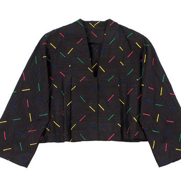 Black Bolero Jacket 80s Silk Vintage 1980s Colorful Segment