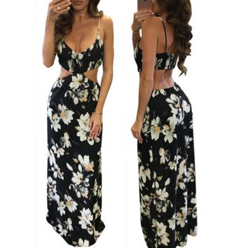 Fashion Flower Print Hollow Backless Deep V-Neck Sleeveless Strap Maxi Dress