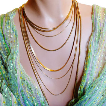 Liz Claiborne necklace, classic 8 strand, very long gold tone chain necklace