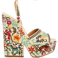 Cacoon embroidered wedge sandals   Sergio Rossi   MATCHESFASHION.COM US
