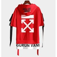 Off White New fashion letter cross arrow print hooded couple top t-shirt Red