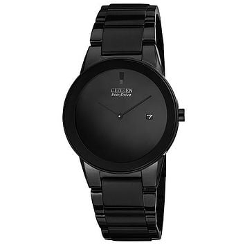 Citizen Eco-Drive Axiom Mens Watch - Black Dial, Case and Bracelet - Date