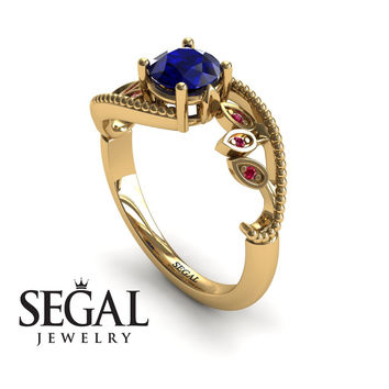 Unique Engagement Ring 14K Yellow Gold Leafs And Branches Victorian Ring Filigree Ring Sapphire With Ruby - Audrey