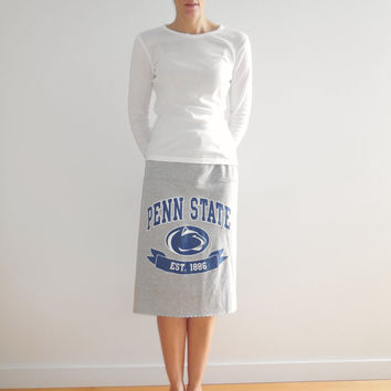 Penn State Tshirt Skirt Nittany Lions Womens Tee Skirt Blue Gray Eco Friendly Knee Length Drawstring Recycled Cotton Soft by ohzie