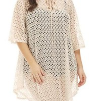 Apricot Crochet Lace up Plus Size Cover Up Beach Dress