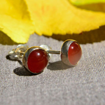 Carnelian Earrings with Sterling Silver Posts, Silver Stud Earrings in Carnelian