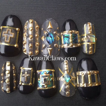 Back & gold with abalone and studs and crosses false fake 3d press on nail art