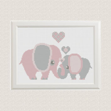 cross stitch pattern elephants with hearts, modern cross stitch, PDF instant download