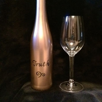 Painted Wine Bottle / Decorative Barware / Decanter / Bar Decor / Wine And Alcohol Bottles / Unique Hostess Gift / Fun/Have a shot of TRUTH!