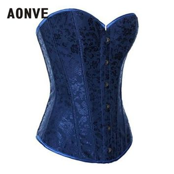 AONVE Blue Corset Gothic Steampunk  Bodice Wedding Sexy Lingerie Corsage Overbust Corsets and Bustiers Slimming Shaperwear S-2XL