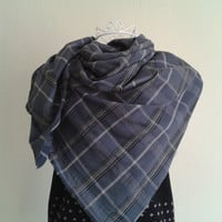 Gray Plaid Blanket Scarf/Check Scarf/Gray Scarf/Blanket Scarf/Plaid Scarf/Scarf/Fabric Scarf/Grey Scarf/Grey Plaid Blanket Scarf