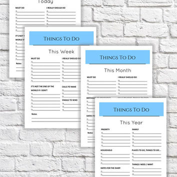 A4 Basic Lifestyle Planner Collection - Things To Do - Daily, Weekly,Monthly, Yearly. Instant Digital Download. Size A4