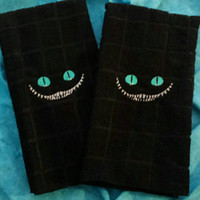 CHESHIRE Cat TOWEL for Kitchen or Bath CUSToM BOUTIQuE Embroidered STuNNING Turquoise BRiGHT Eyes Boutique Unique Designs by Sugarbear