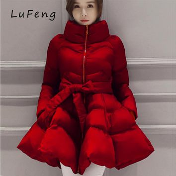 2017 Parka Coat Bow Waist Fluffy Skirt A Warm Coat Jacket Parkas For Women Winter Women Down And Parkas 2017 Long A1-1