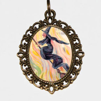 Witch Necklace, Halloween Jewelry, Broom, Witchcraft, Wiccan, Gothic, Bronze Oval Pendant
