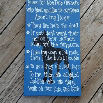 Rules for Non Dog Owners - Hand Painted Wooden Sign - Pets Non Pet Owners - Great Dane Breed - Dog Wall Hanging - Great Dane Sign - Home Dec