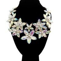 Aurora Borealis Crystal Flower Necklace