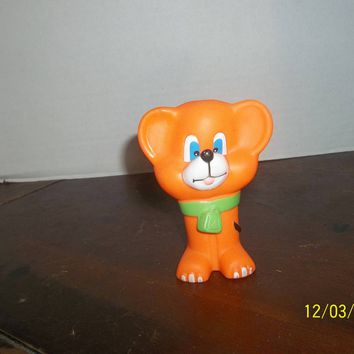 "vintage 1987 evenflo orange puppy dog mouse bear baby rubber squeaky toy 4"" tall"