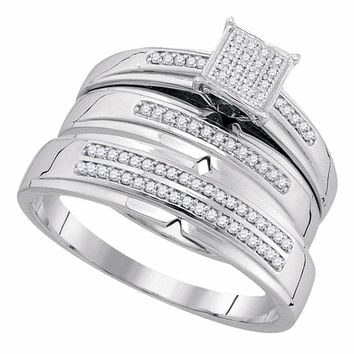 10kt White Gold His & Hers Round Diamond Cluster Matching Bridal Wedding Ring Band Set 1/4 Cttw