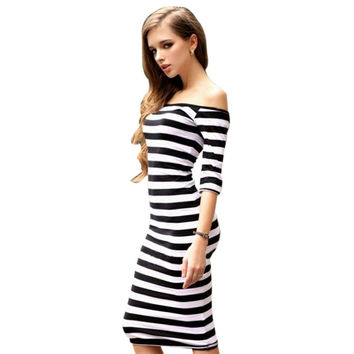 Women's Summer Sexy Off Shoulder Knee Length Striped Half Sleeve Bodycon Slim Style Pencil Black - Sky - Blue Dress