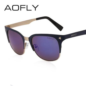 AOFLY Summer Style Women Sunglasses Half Frame Sunglasses Vintage Brand Design Fashion Lady Shades Metal Glasses Gafas De Sol