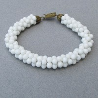 1940's Retro Haskell Wannabee Milk Glass Dog Bone Bead Bracelet