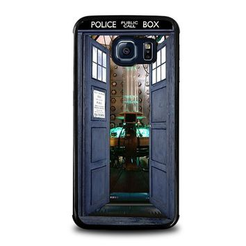 dr who tardis open the door samsung galaxy s6 edge case cover  number 1