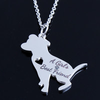 Women Pet PitBull A Girl's Best Friend Charm Choker Chain Statement Necklace Jewelry Collier Femme Punny Bijoux Mujer Necklaces