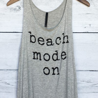 Beach Mode On Tank Top in Heather Grey