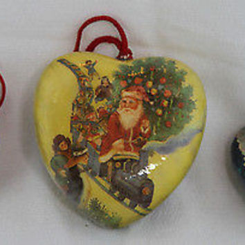 Vintage Paper Mache Holiday Ornaments Angel Santa Claus with Children