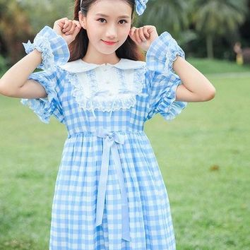 Cute Lolita Plaid Checks Dress Girls Japanese Bows Short Sleeve Peter Pan Collar Dress