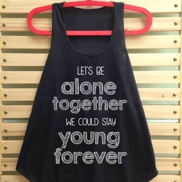 Black alone together shirt tank top clothing vest tee tunic singlet women shirt - size S M