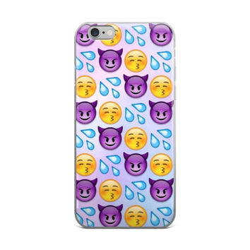 Water Squirt Blowing Kisses & Purple Devil Emoji Collage Teen Cute Girly Girls Sky Blue iPhone 4 4s 5 5s 5C 6 6s 6 Plus 6s Plus 7 & 7 Plus Case