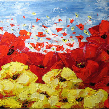 Poppies in the Wind, Acrylic Palette Knife Art, 8 x 10 Canvas Painting, Abstract Floral Art, Impasto Paint, Original Painting
