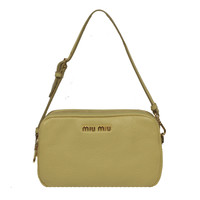 Miu Miu Light Yellow Leather Wristlet Bag 5ARH02