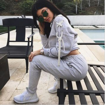 Qiu dong speed sell tong bind fleece sports suit sell like hot cakes jumpsuit two piece
