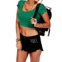 Hunter Green Cap Sleeve Fitted Crop Tee