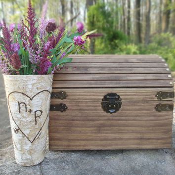 Large Rustic Wood Card Box or Keepsake Chest Perfect by PNZdesigns