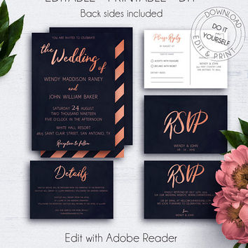 Rose Gold Navy Blue Invitation with Inserts, Wedding Set, Printable Wedding Invite, Download, Rose Gold Invites, Wedding on a Budget