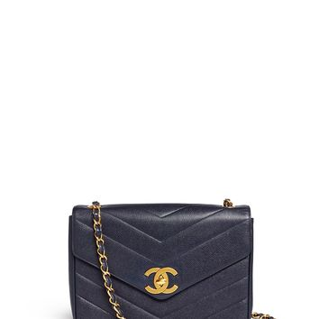 Vintage Chanel | Jumbo chevron quilted caviar leather flap bag | Lane Crawford - Shop Designer Brands Online