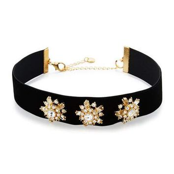 Lydell NYC Starburst Crystal Velvet Choker Necklace