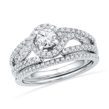 14kt White Gold Women's Round Diamond Bridal Wedding Engagement Ring Band Set 3/4 Cttw - FREE Shipping (US/CAN)