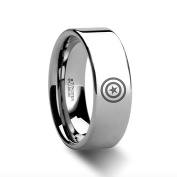 Captain America Polished Tungsten Engraved Ring Jewelry - 4mm -8mm